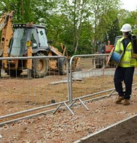 Afspærring med byggepladshegn fra PIT Hegn